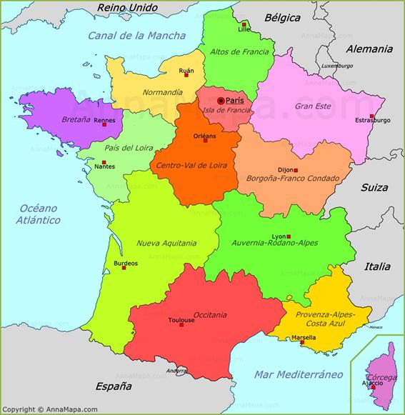 Mapa De Francia Ciudades.Mapa Politico De Francia Francia